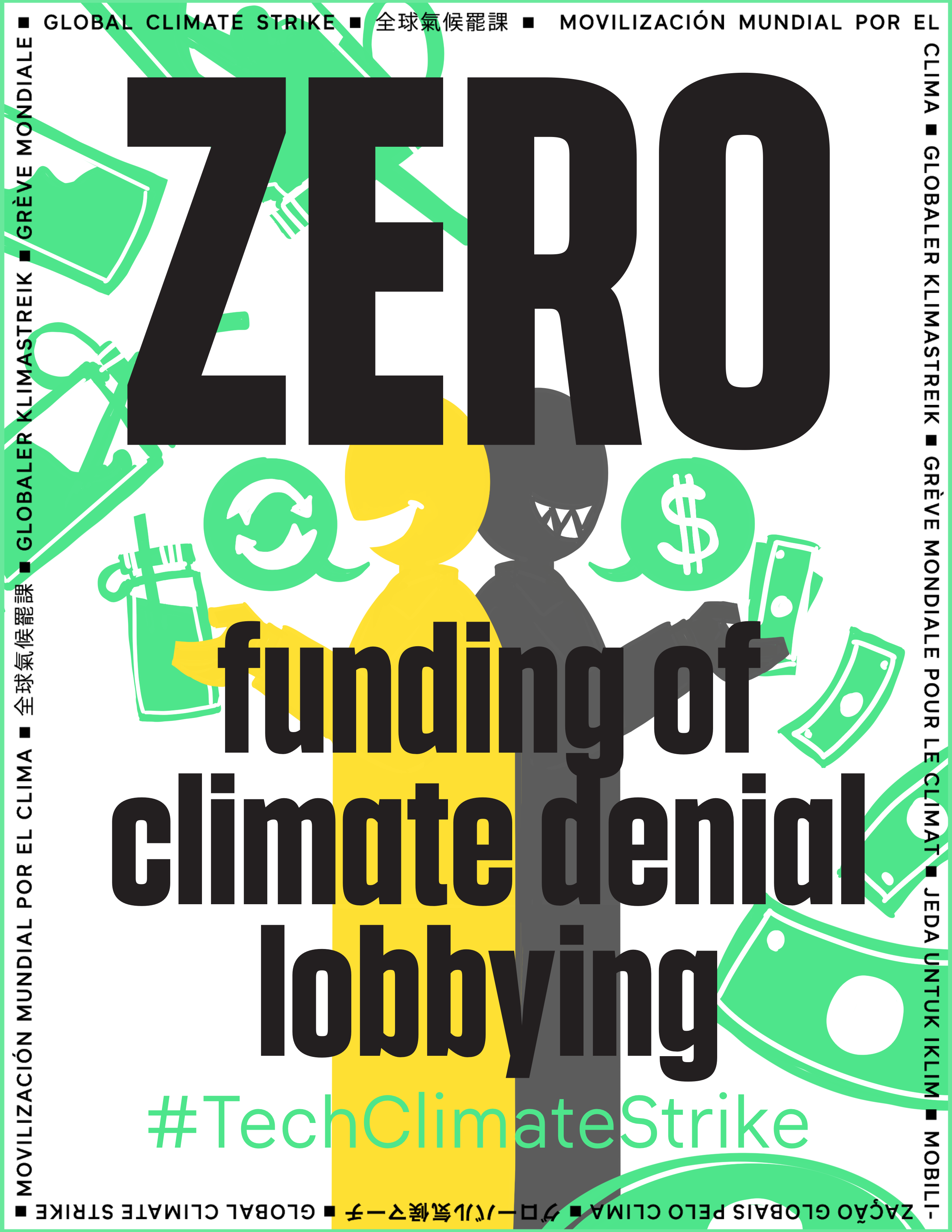 Zero funding of climate denial lobbying or other efforts